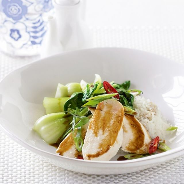 Poached Chicken with Sweet Soy, Chili and Shallots