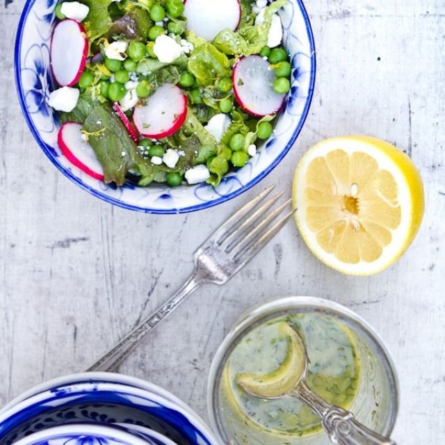 Radish and Pea Salad with Lemon Oregano Vinaigrette