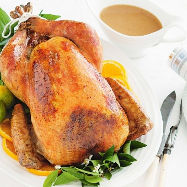Roast Turkey with Peach, Pistachio and Orange Stuffing and Gravy