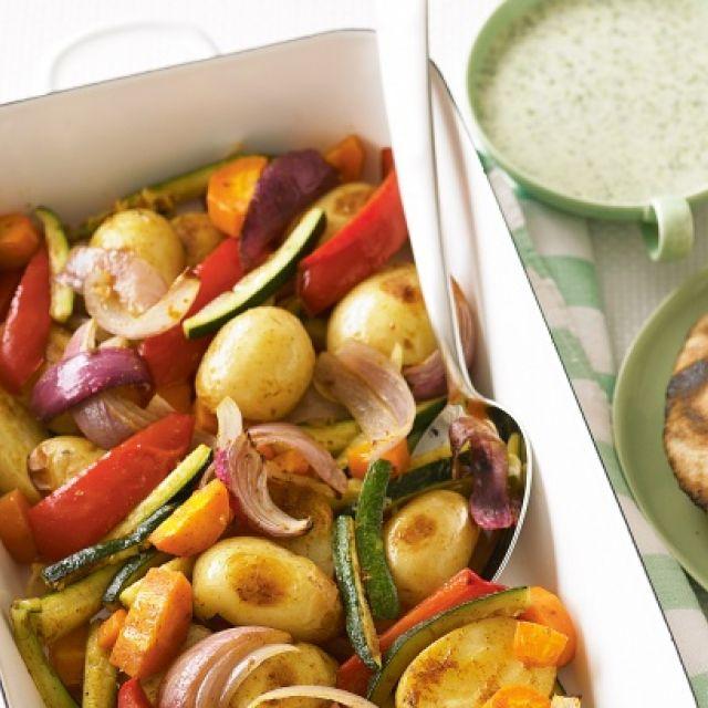 Roasted Vegetables with Coriander Yogurt