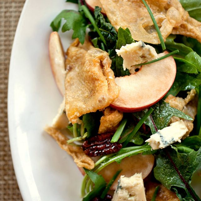Salad with Stone Fruit, Blue Cheese and Chicken Skin