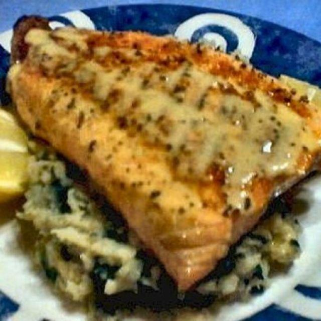 Salmon with Mustardy Celeriac Mash