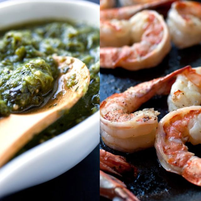 Shrimp in Tomatillo and Herb Sauce