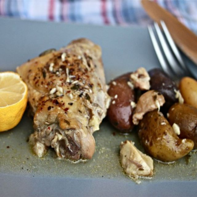 Slow-Cooker Chicken with 40 Cloves of Garlic and Fingerling Potatoes