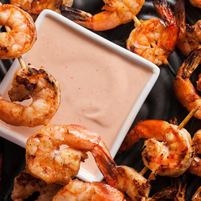 Smoky Grilled Shrimp with Marie Rose Sauce