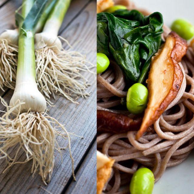 Soba with Green Garlic, Spinach, Edamame and Crispy Tofu