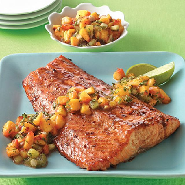 Spiced Brown Sugar Salmon with Peach-Kiwi Salsa