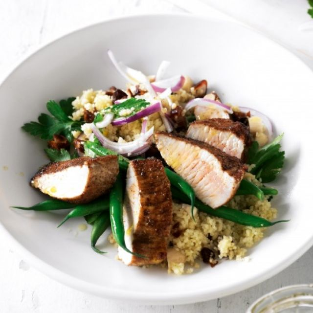 Spiced Turkey with Date and Almond Couscous