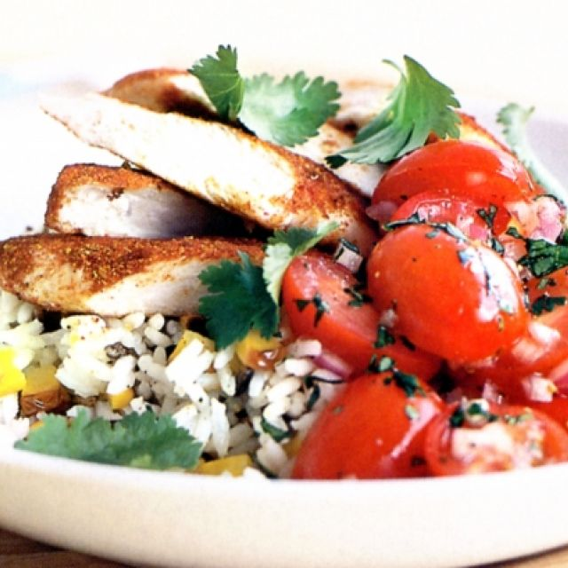Spicy Chicken with Tomato Salsa on Wild Rice