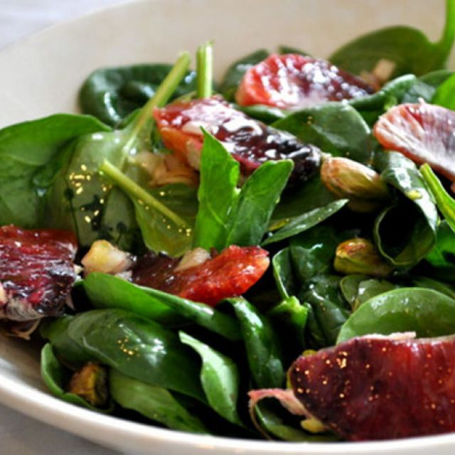 Spinach Salad with Blood Oranges and Pistachios