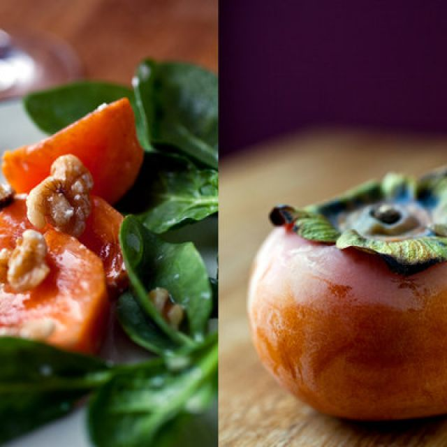 Spinach Salad with Persimmons, Goat Cheese and Walnuts