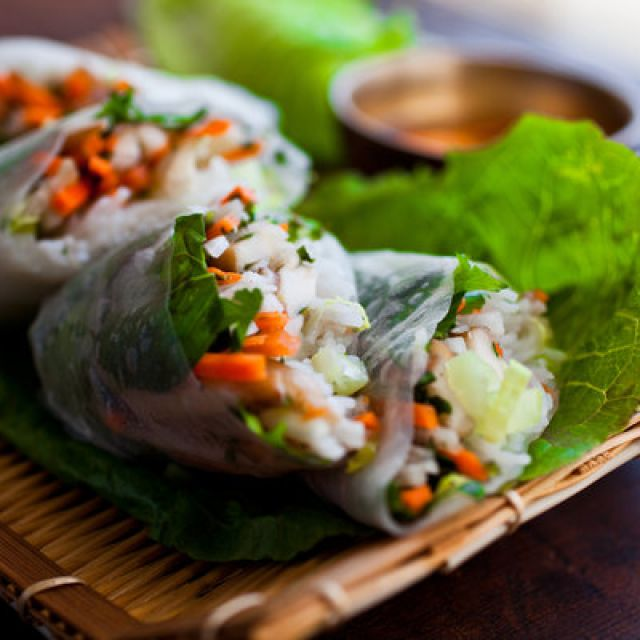 Spring Rolls with Carrots, Turnips, Rice Noodles and Herbs