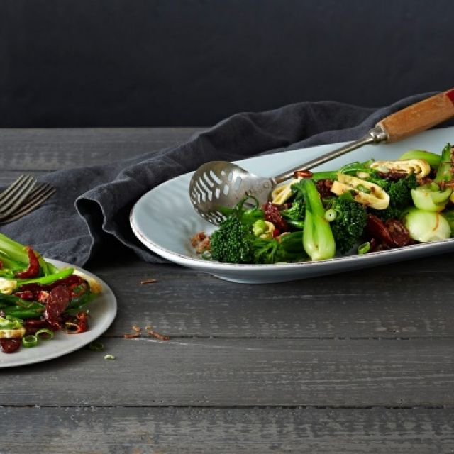 Stir-Fried Asian Greens with Chinese Sausage, Tamari and Fried Shallots