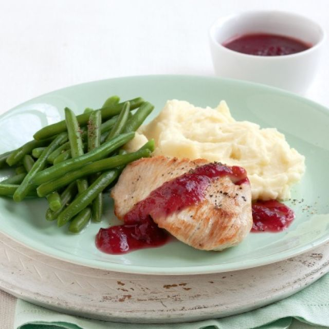 Turkey with Cranberry Glaze and Potato Mash