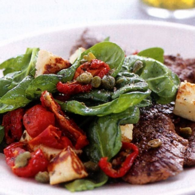 Veal with Halloumi and Spinach Salad