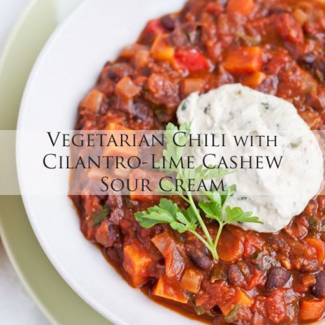 Vegetarian Chili with Cilantro-Lime Cashew Sour Cream