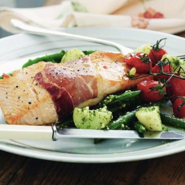 Baked Salmon with Pesto Potatoes and Beans