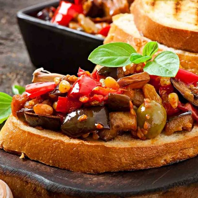 Bruschetta with Olives and Raisins
