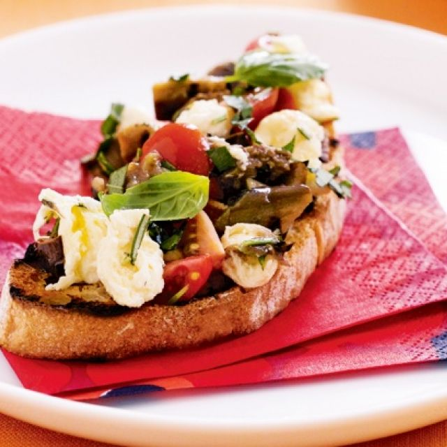 Bruschetta with Tomato, Eggplant and Bocconcini