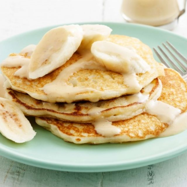 Gluten-Free Pancakes with Bananas and Caramel Sauce