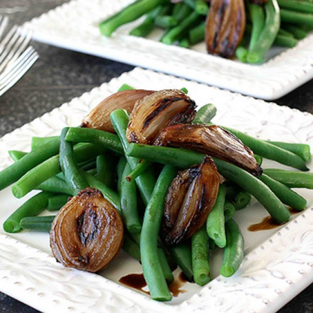 Green Beans with Balsamic Roasted Shallots