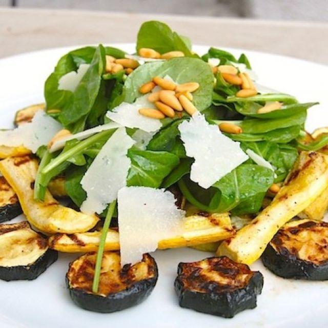 Grilled Zucchini with Arugula, Pecorino and Pinenut Salad