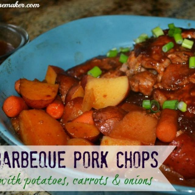 Crockpot Barbecue Pork Chops with Potatoes, Carrots, and Onions