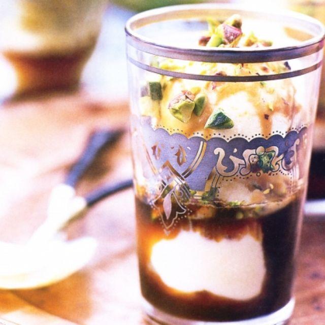 Ice-Cream with Chocolate Mint Sauce