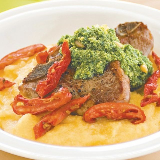 Lamb Chops with Polenta, Sun-Dried Tomatoes and Pesto