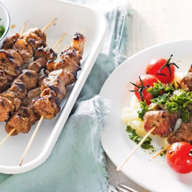 Lamb Kebabs with Cauliflower Mash and Parsley Sauce