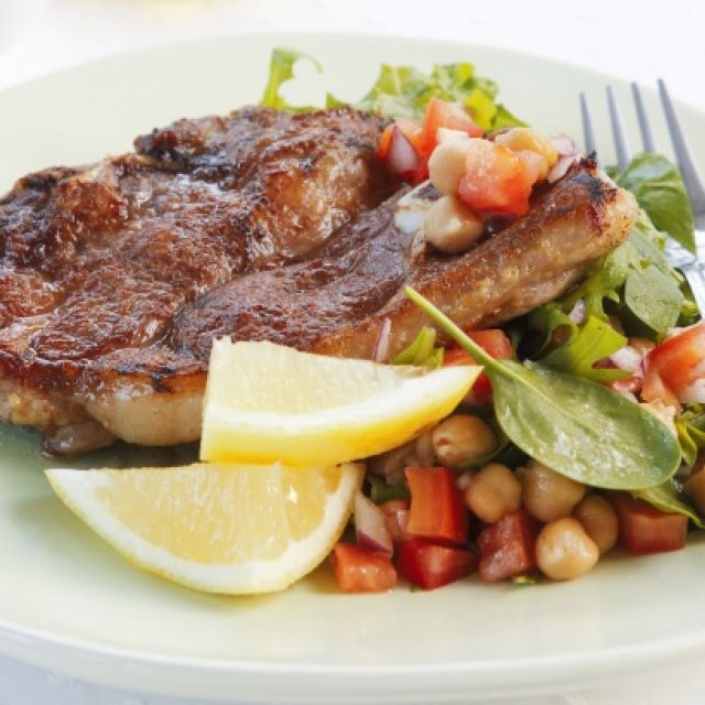 Lamb with Garlic and Lemon and Chickpea Salad