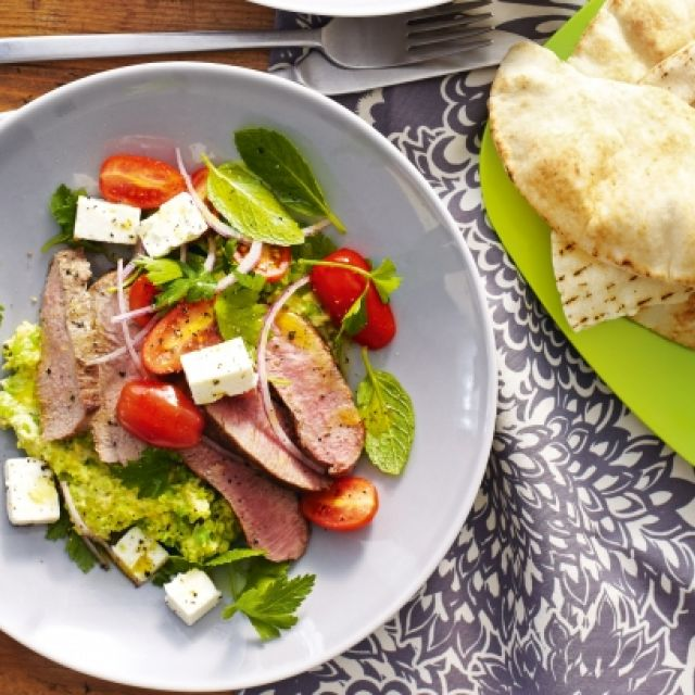 Lamb with Pea Hummus and Tomato Herb Salad