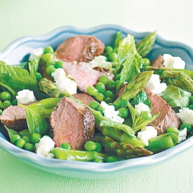 Lamb with Pea, Asparagus, Goats Cheese and Mixed Herb Salad
