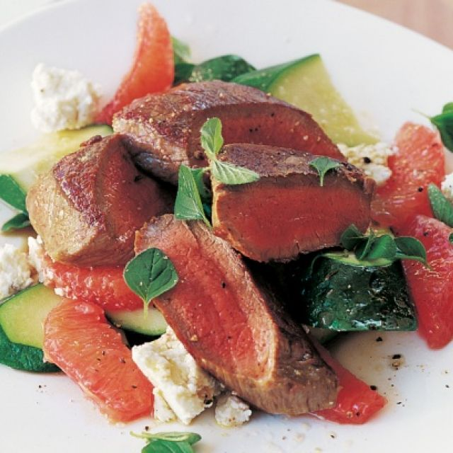 Lamb with Zucchini, Pink Grapefruit and Feta