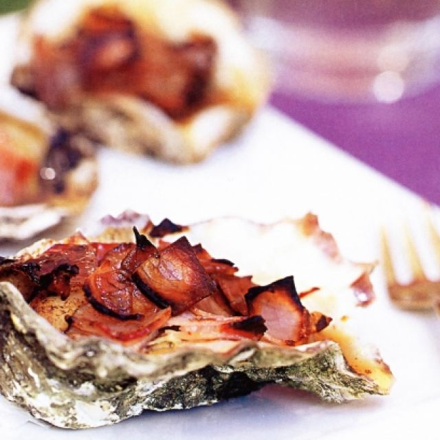 Oysters with Balsamic and Pancetta