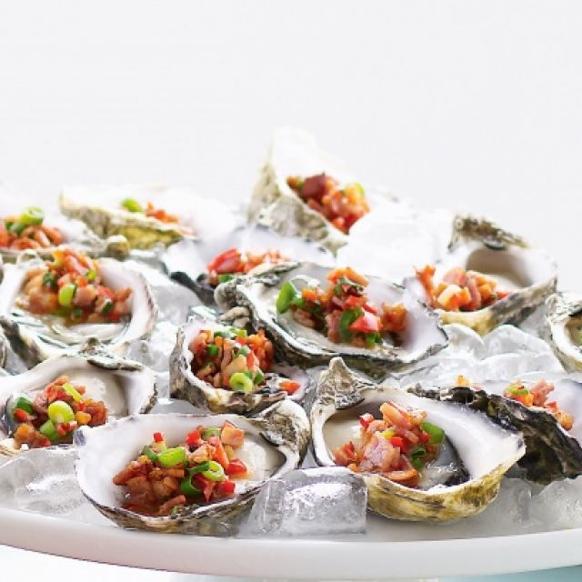 Oysters with Chili and Bacon