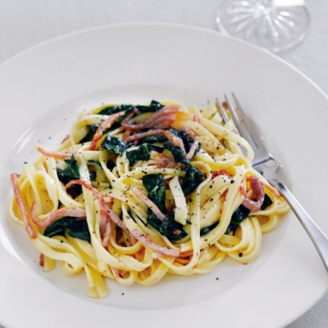 Pasta Carbonara with Tuscan Cabbage