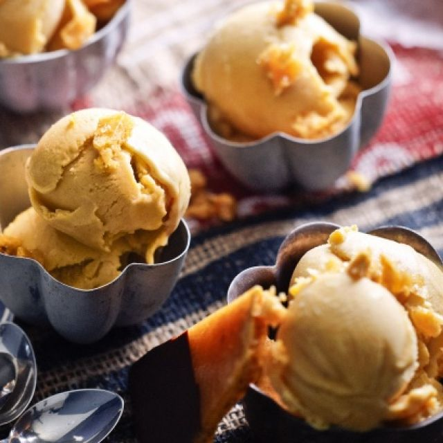 Pumpkin Ice Cream with Homemade 'violet Crumble'
