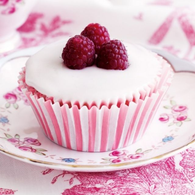 Raspberry Cakes with Rosewater Icing