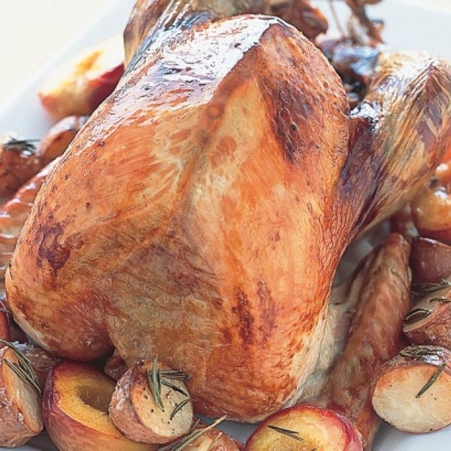Roast Turkey with Rosemary Potatoes and Peaches