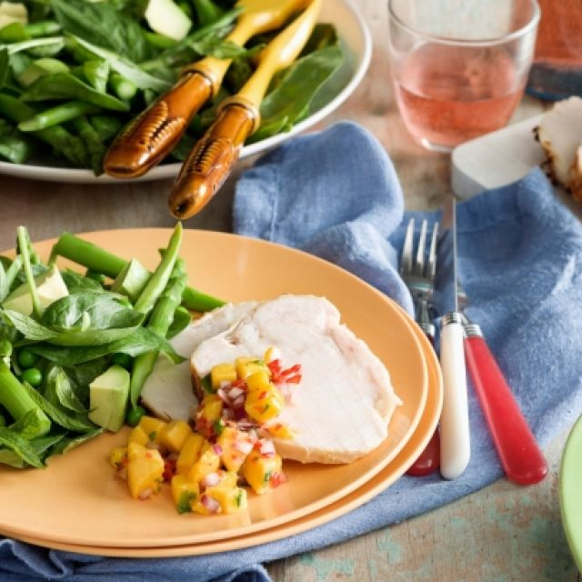 Roast Turkey with Summer Salsa and Spinach Salad