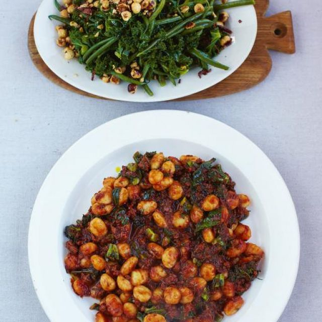 Sausage Gnocchi with Warm Kale and Bean Salad