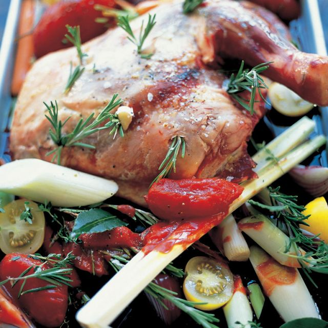 Slow-Cooked Shoulder of Lamb with Roasted Vegetables
