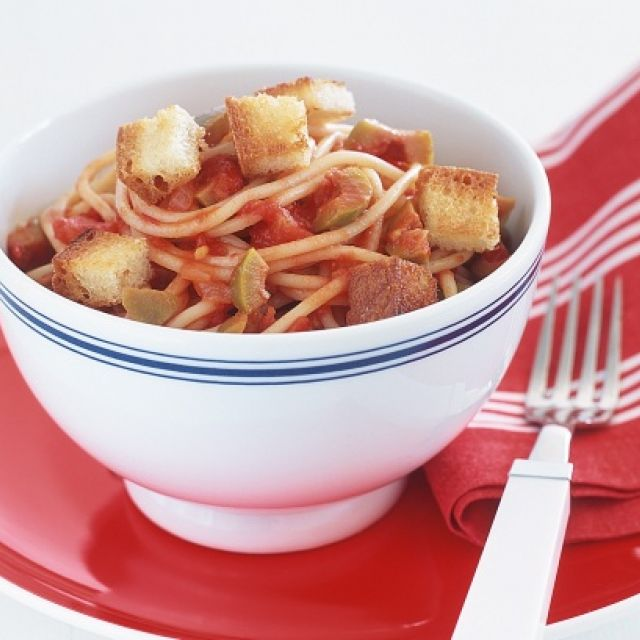 Spaghetti with Tomato-Olive Sauce