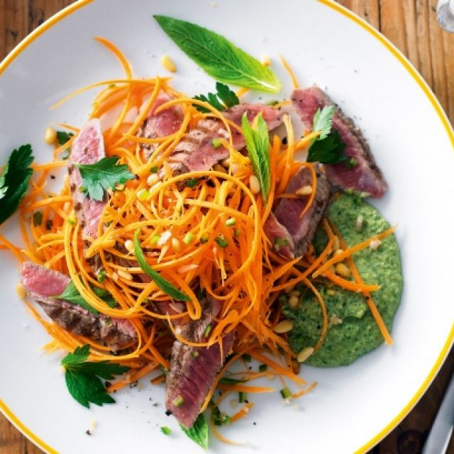 Spiced Lamb with Carrot Salad and Minted Hummus