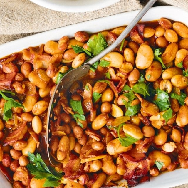 Spiced Oven-Baked Beans with Pancetta