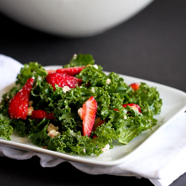 Strawberry and Kale Salad with Feta Cheese