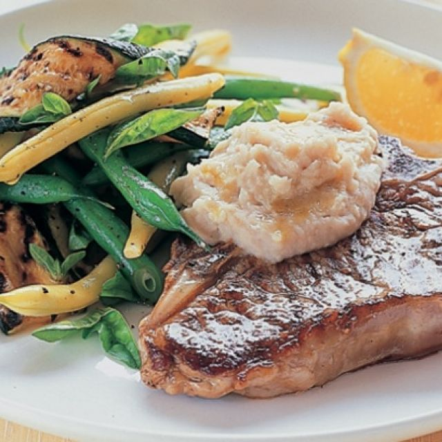 Veal with Grilled Zucchini Salad and White Bean Puree