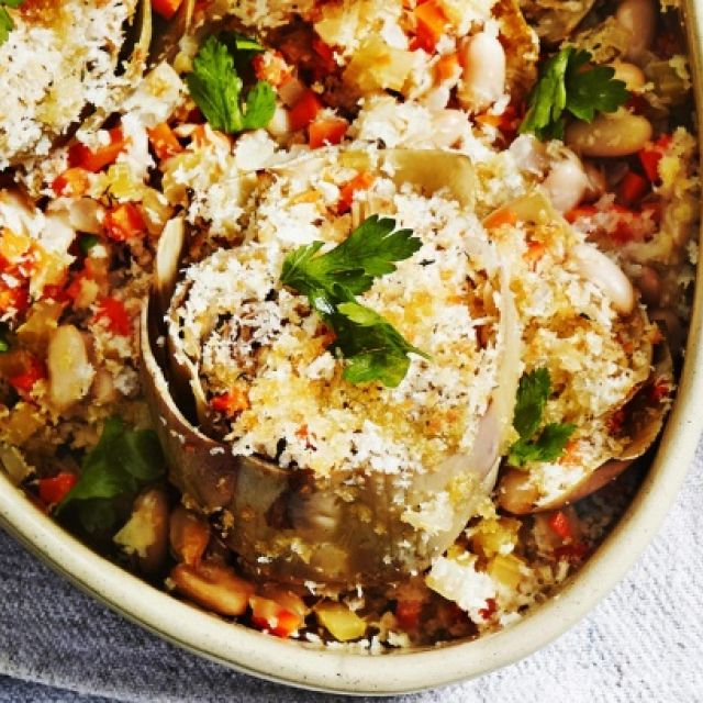 Baked Artichokes with Cannellini Beans and Thyme Bread Crumbs
