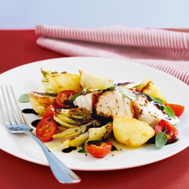 Baked Fish with Fennel, Cherry Tomatoes and Oregano